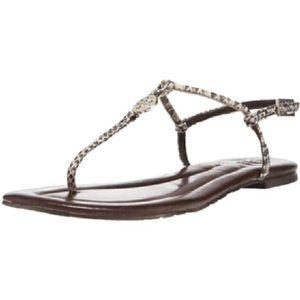 Emmy Snakeskin Slingback Flat Thong T-Strap Sandal
